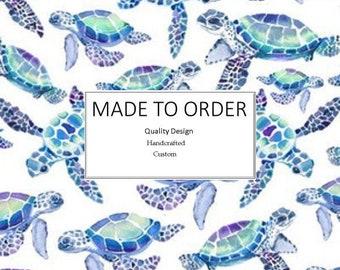 Aqua Sea Turtles - Scrub Cap, Handmade, 100% Cotton, Breathable, Traditional, Bouffant or Ponytail