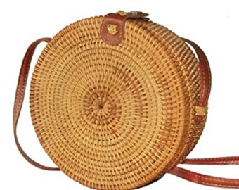 Handwoven Round Straw Bag Leather Crossbody Shoulder Strap Handbag Summer Beach Bag