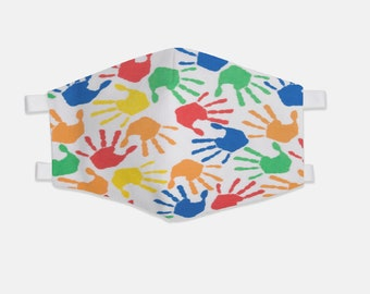 Multicolor Hands Fabric Face Mask 100% Cotton with Stretch Loops