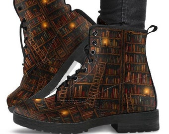 Library Book Lover Boots-Women's Boots- Vegan Leather- Combat Boots- Classic Boots- Chakra Boots- Buddha Boots- Hippie Boots- Book lover