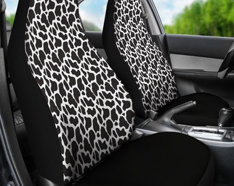 Steering Wheel Cover Seat Belt Pads 5 Pcs Universal Car Interior Decorative Accessories Great Gifts for Women FUIBENG Lovely Animal White Cow Print Cute Car Front Seat Covers