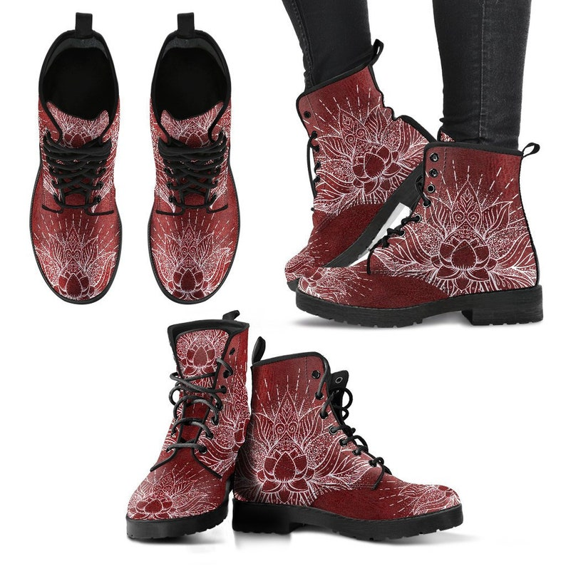 Boho boots Vegan boots Women/'s boots Mandala Boots- Girl boots Bohemian Boots Glowing Lotus Boots-Combat boots Psychedelic boots