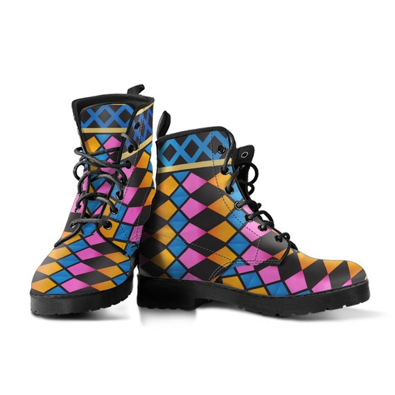 Diamond Disco Boots-Women's Boots- Vegan Leather- Combat Boots- Classic Boots- Fashion Boots- Custom Boots- Psychedelic Boots- Trance Boots