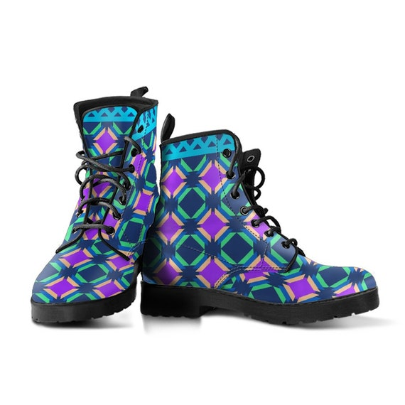 Pastel Disco Boots-Women's Boots- Vegan Leather- Combat Boots- Classic Boots- Fashion Boots- Custom Boots- Psychedelic Boots- Trance Boots