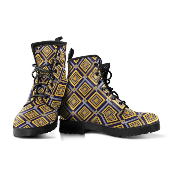 Tile Pattern Boots-Women's Boots- Vegan Leather- Combat Boots- Classic Boots- Fashion Boots- Custom Boots- Psychedelic Boots- Floral