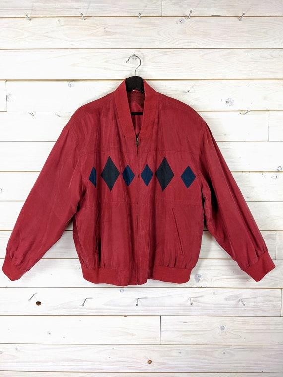 Vintage 90s 80s Silk Bloouson Silk Jacket L red b… - image 1