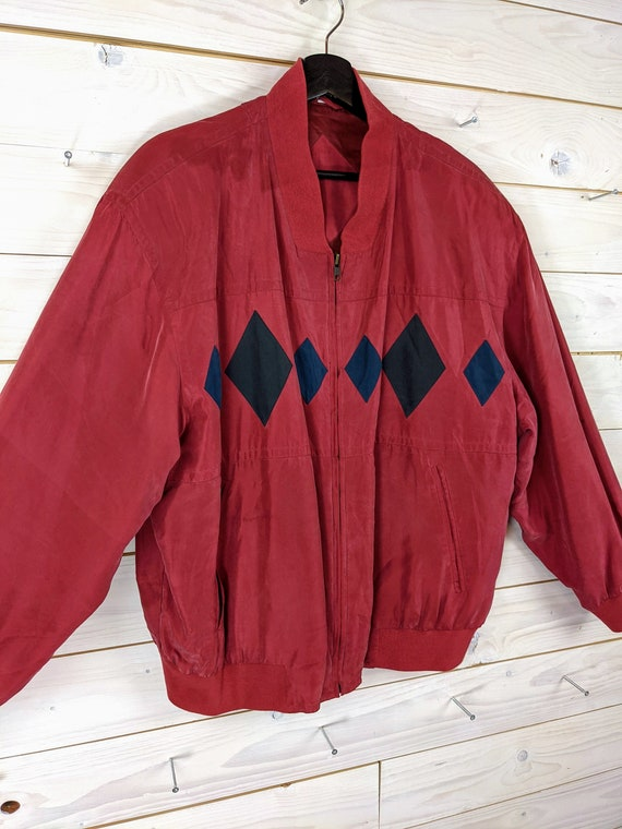 Vintage 90s 80s Silk Bloouson Silk Jacket L red b… - image 2