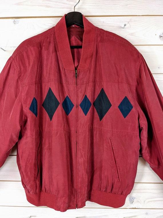 Vintage 90s 80s Silk Bloouson Silk Jacket L red b… - image 3