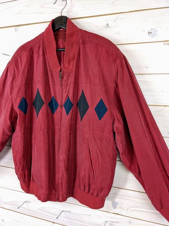 Vintage 90s 80s Silk Bloouson Silk Jacket L red b… - image 4