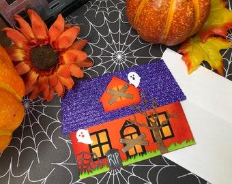 Handmade Haunted House Card, Halloween Haunted House card, Halloween card, Fun Halloween Card, Unique Halloween Card, Ghost haunted house
