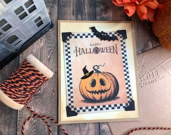Handmade Halloween Card, Vintage Halloween graphics, Pun, Jack o'lantern card, Happy Halloween, Pumpkin and Witch hat, Glitter Halloween