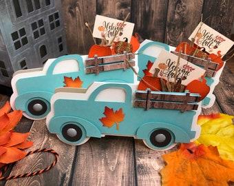 Handmade Fall Truck, Fall Farm Truck, Farm Truck Card, Farm Truck with Pumpkins, Pumpkin Fall Card, Autumn Card, Unique card,  3-D fall card