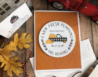 Handmade Fall Truck Card, Buffalo Check, Farm Fresh Pumpkins, Farm truck with Pumpkins, Autumn Themed Farm Truck Card, Maple Leaf Fall Card
