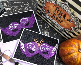 Handmade Halloween Card, Masquerade Ball Mask, Halloween Mask Cute, Glitter Halloween Card, Halloween Pun Card, Have A Fab-BOO Lous day