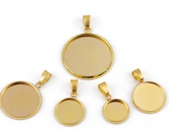 10 x DIY kit Round golden pendant kit 25mm  tray bezel glass cabochon gold craft