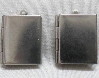 Nickel Free No Hook 20/% off LK-100-SQ  1pcs  Antique Brass Silver Plated Book Shape Locket