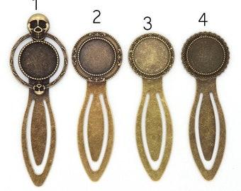 4pcs 18mm Antique Bronze Brass Round Cameo Cabochon Base Setting Bookmark F304-6