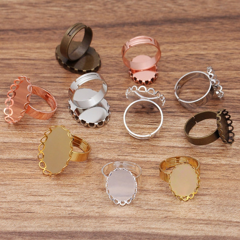rose gold Ring Base Trays 20pcs brass Lace oval Crown Ring Blanks 13x18mm18x25mm Ring Bezel Settings antique bronze silver