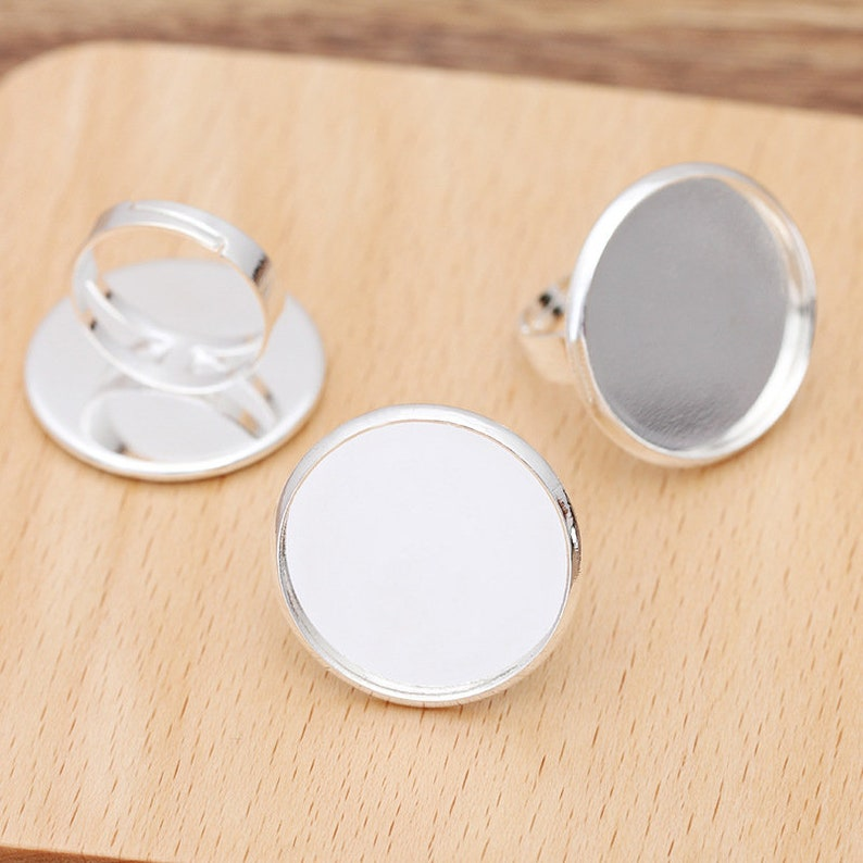 silver Ring Base Tray Jewelry Making Accessories 20pcs brass Ring Blanks 25mm Ring Bezel Settings antique bronze