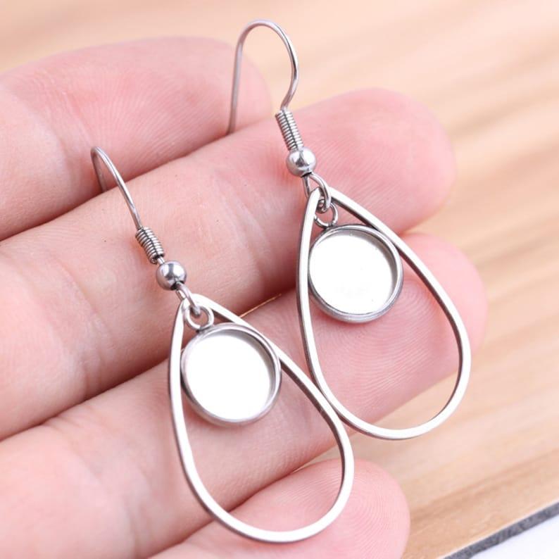 earring trays 10pcs 12mm Stainless Steel Teardrop Bezel Earring Studs Settings Bezel earring Base 12mm Earring Blanks