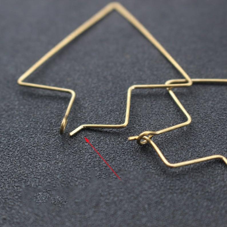 20pcs Brass Earring Wire Raw Brass Arrow shape Ear Wire charm Pendant