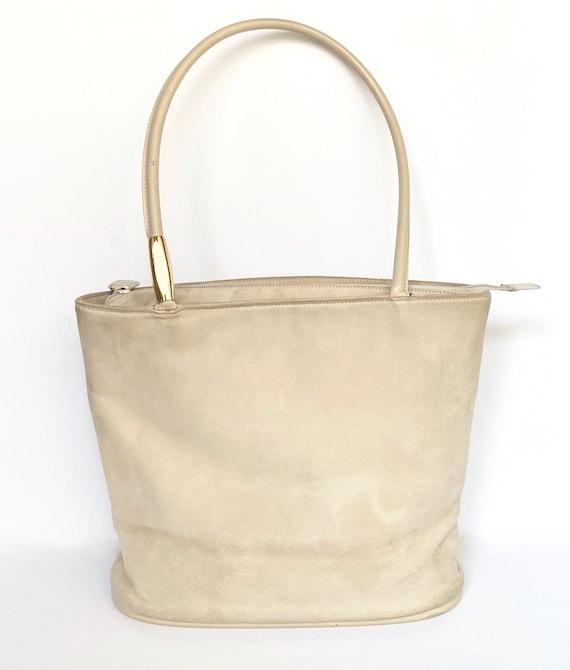 Gucci White Suede Bucket Bag