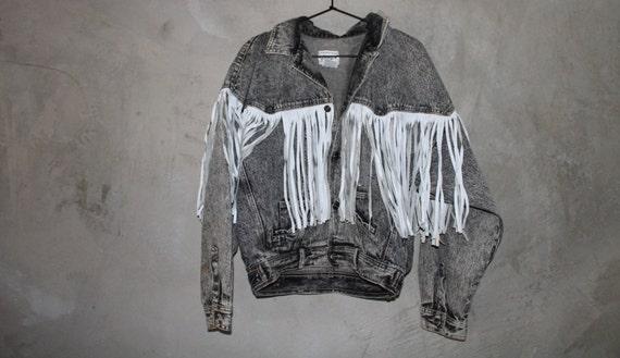 Black and White Leather Fringe Denim Jacket