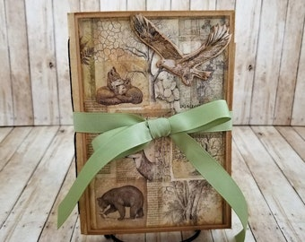 Forest Junk journal, Forest creatures in the woods, Squirrels, Eagles soaring high, Fox, Bear, Deer,. jj021