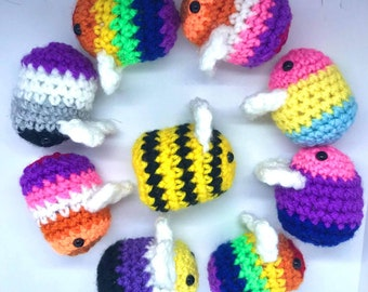 LGBTQ+ Pride flags/ NHS bees handmade crochet with or without keyring