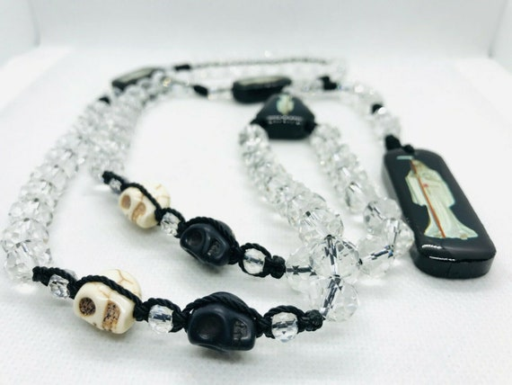 Rosario Santa Muerte Blanca Cristal Blanco Perla White Holy Death Crystal Rosary hand made with Pearl White bead