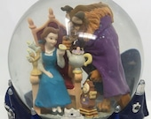 Disneys Beauty and the Beast Snow Globe Music Box Disney Store Vintage Broadway