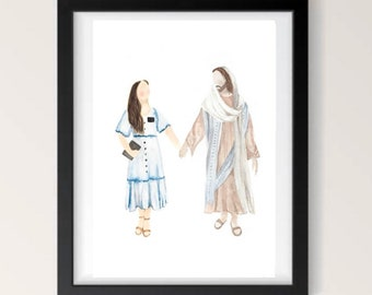 Sister Missionary and Jesus Christ Holding Hands LDS Wall Art Watercolor