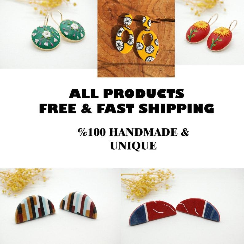 Best gift idea for women Oval Hollow Polymer Clay Earrings Red Stripe Aesthetic Jewelry