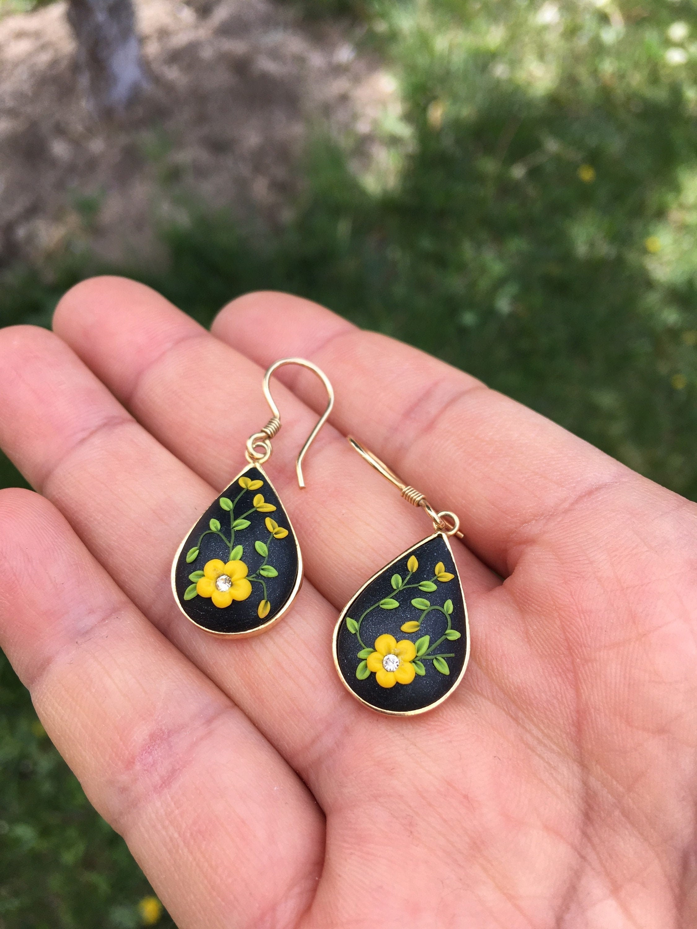 Polymer Clay MOSAIC Floral Teardrop Statement Earrings
