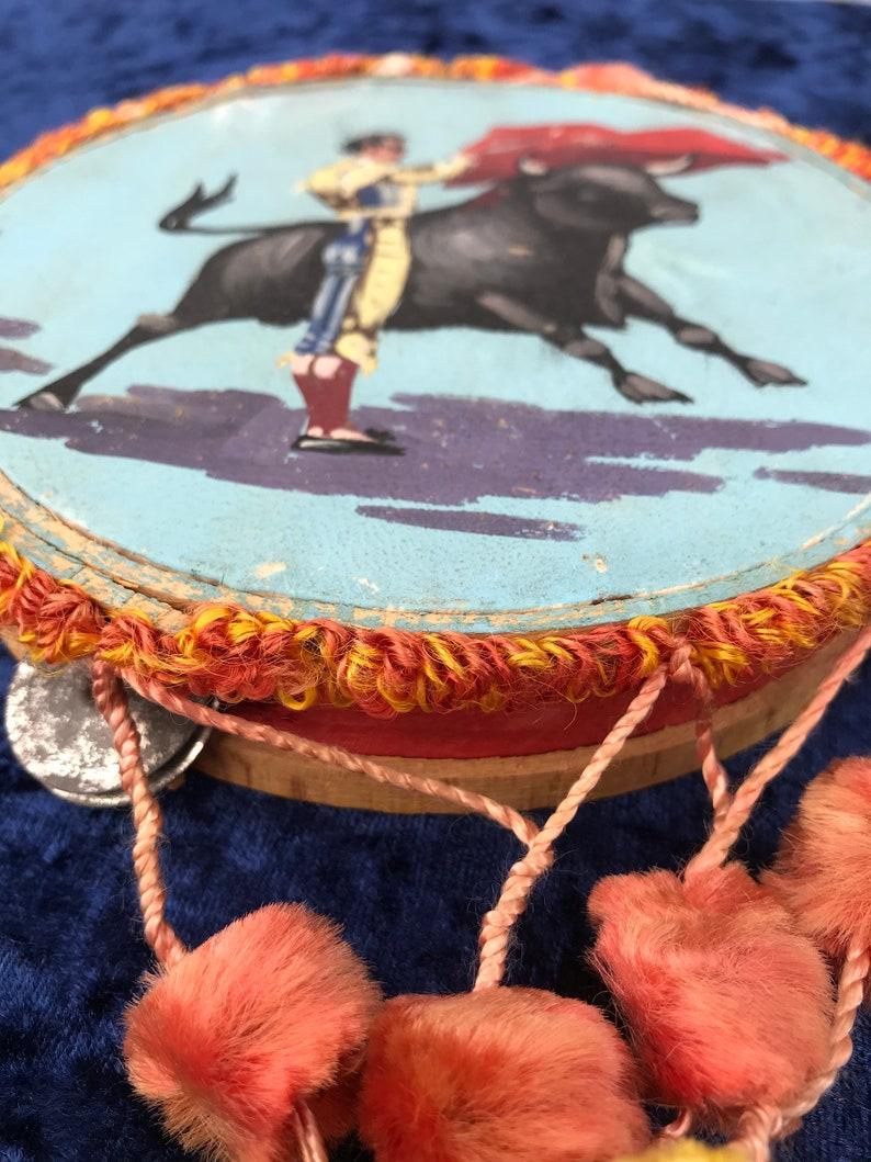 all items are in excellent condition. Tambourine 14cm dia - Matador 17cm Tall VINTAGE SPECIAL Tambourine with El Toro and his Matador