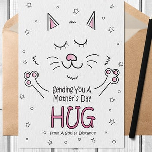 Cute Cat PDF 5 x 7 Card Printable Social Distance Thank You Card with Free Envelope Template Digital Mothers Day Card Download