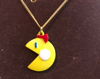 "Handmade 16-18/"" Necklace Pacman Retro Gamer Geek Nerd Rainbow"