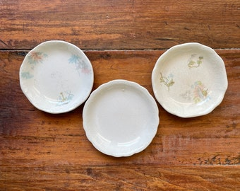 Vintage set of 3 Butter Pat Plates. Ironstone Butter Pats. Johnson Brothers England 1900 Pat.