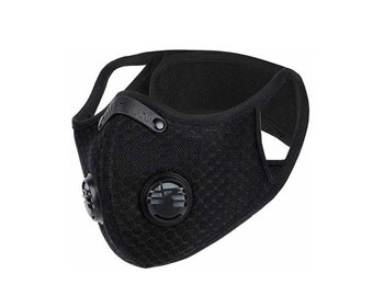 Black Pollution Mask | Respirator Mask | Face Anti-Dust With Filter Carbon Activated | Face Mask with Respirator | Cycling Mask