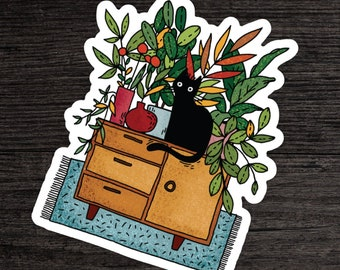 Cute Black Cat Sticker - Boho Stickers - House Plants Decal - Gifts For Cat People