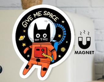 Black Cat Fridge Magnet - Cute Space Cat Car Magnet - Retro Space Magnet - Give Me Space Magnet