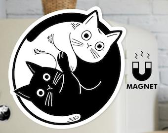Black White Cat Fridge Magnet - Cute Yin and Yang Car Magnet - Kitty Cat Funny Magnet
