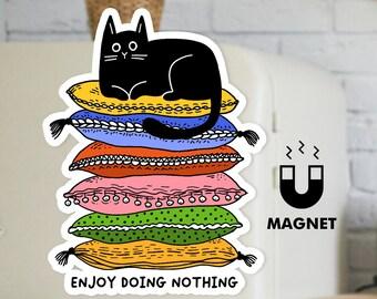 Lazy Black Cat Fridge Magnet - Cute Cat Car Magnet - Kitty Cat Funny Magnet - Enjoy doing nothing
