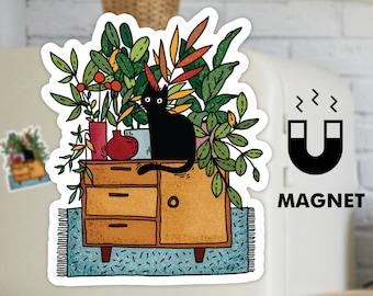 Black Cat Fridge Magnet - Cute Refrigerator Magnet - Boho Home Magnet - Plant Magnet