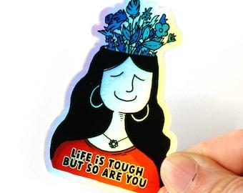 Positive holographic Sticker - Cute holo Vinyl Sticker - Motivational decal - Mental health sticker - Self love sticker - Sticker sayings
