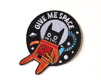 Cute Space Cat Patch - Give Me Space - Retro Astronaut Cool Iron-on Patch