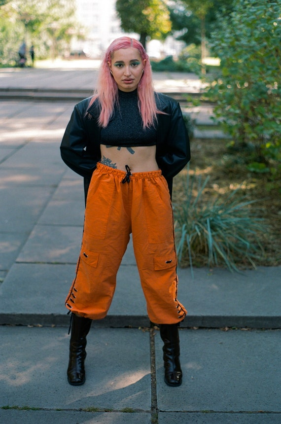 Orange rave style unisex sport pants Vintage from