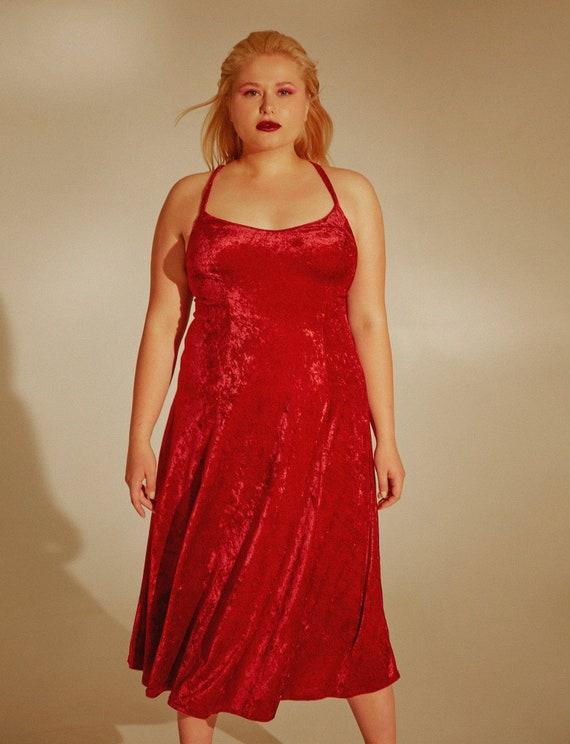 Red velvet dress Vintage from 1990s Size L-XL roma