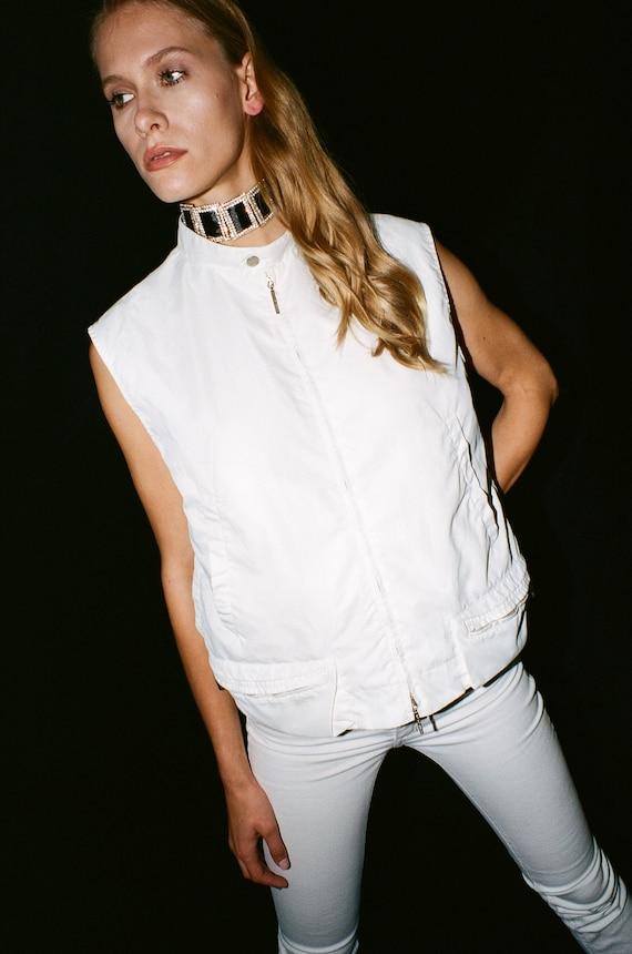 GIANFRANCO FERRE JEANS white utility rave style ve
