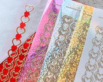 Heart Chains Sticker Sheet | Glitter | Decoration, Polco, Journaling, Planner Stickers, Bullet Journal, Craft | DD sticker